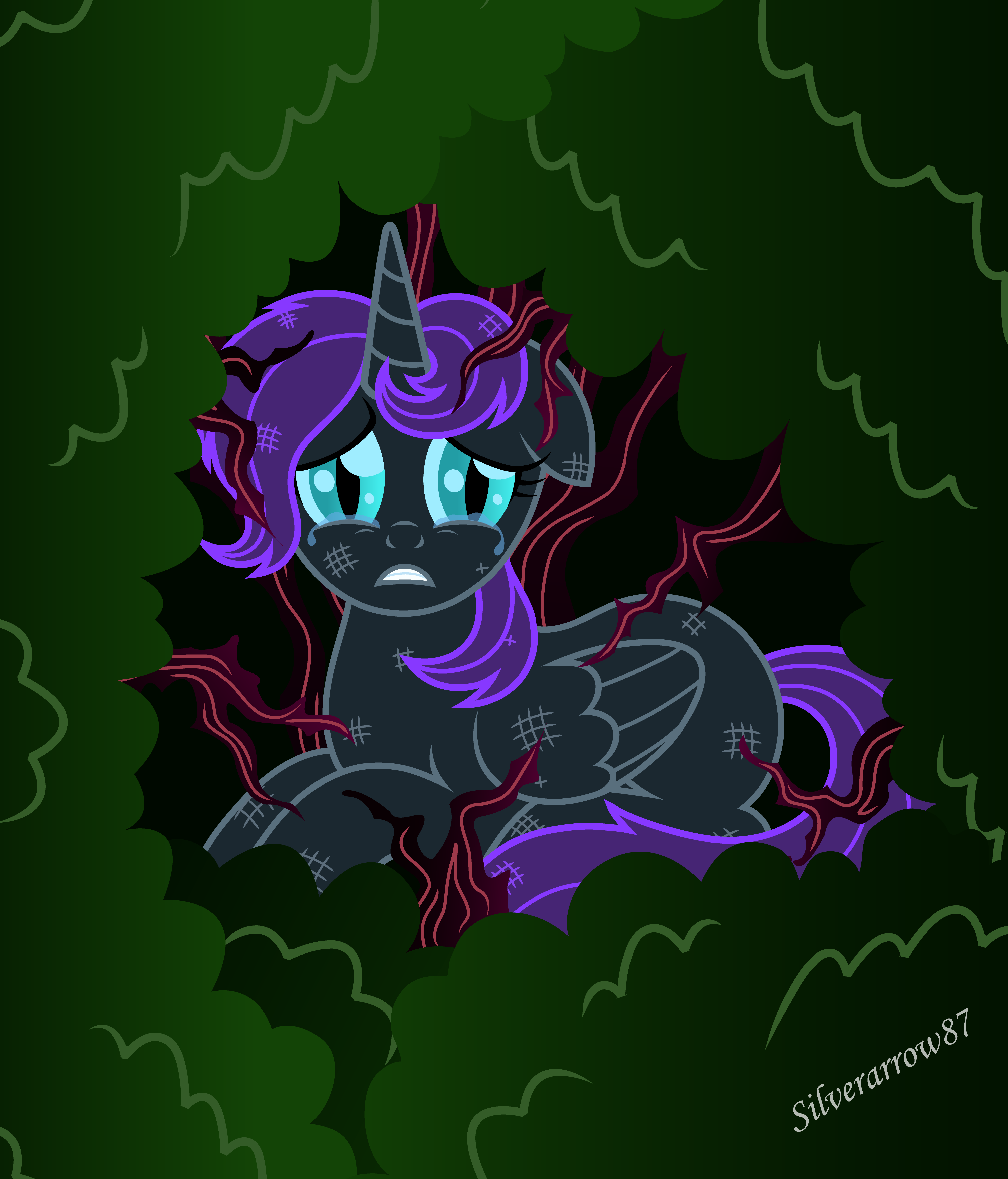 1201618__safe_artist-colon-silverarrow87_oc_oc-colon-nyx_oc+only_absurd+res_alicorn_alicorn+oc_bush_injured_past+sins_pony_scared_solo.png